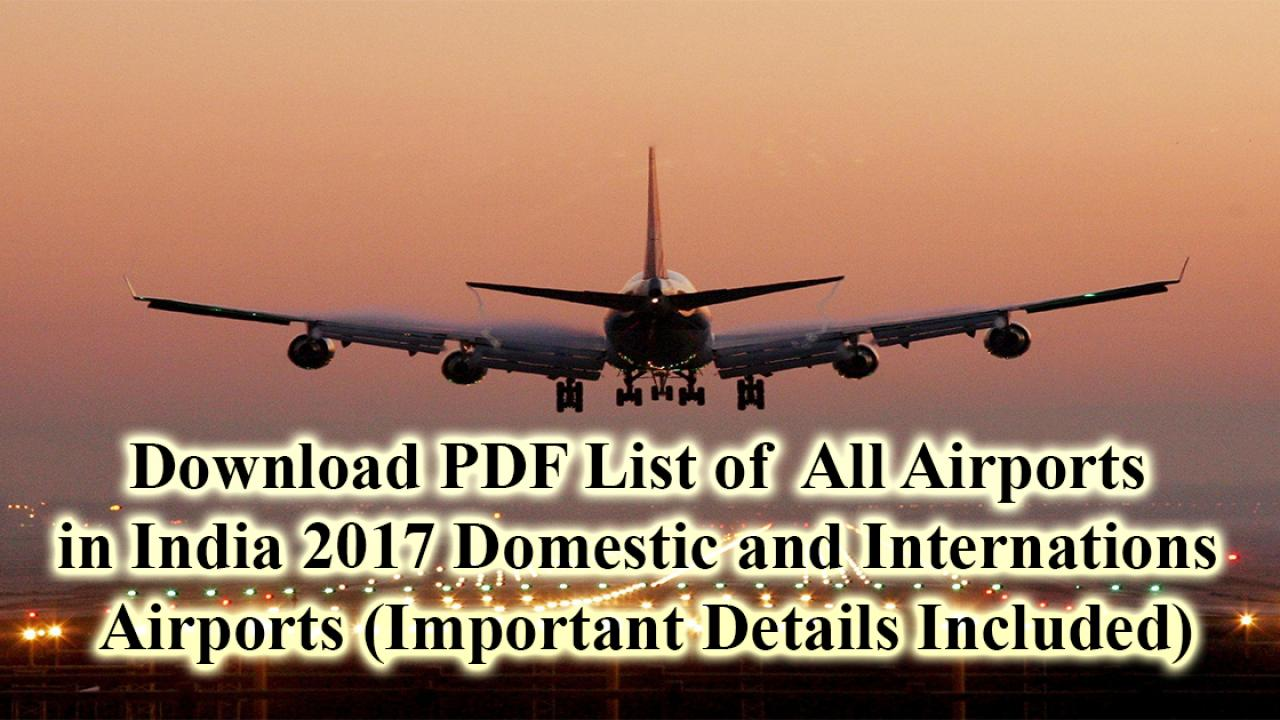 List of all Airports in India PDF - Cracku