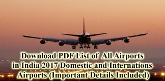 List of All Airports in India PDF 2017