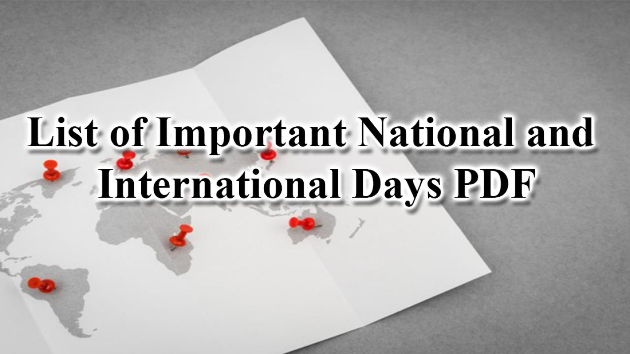 Important National and International Days PDF - Cracku