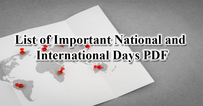 list of important national and international days pdf