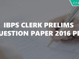 IBPS Clerk 2016 Questions paper PDF