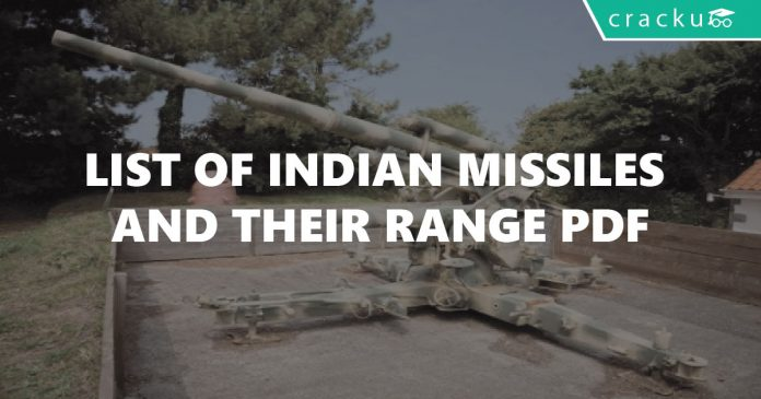 List of Indian Missiles and their Range PDF