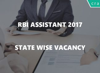 RBI Assistant 2017 State wise Vacancy