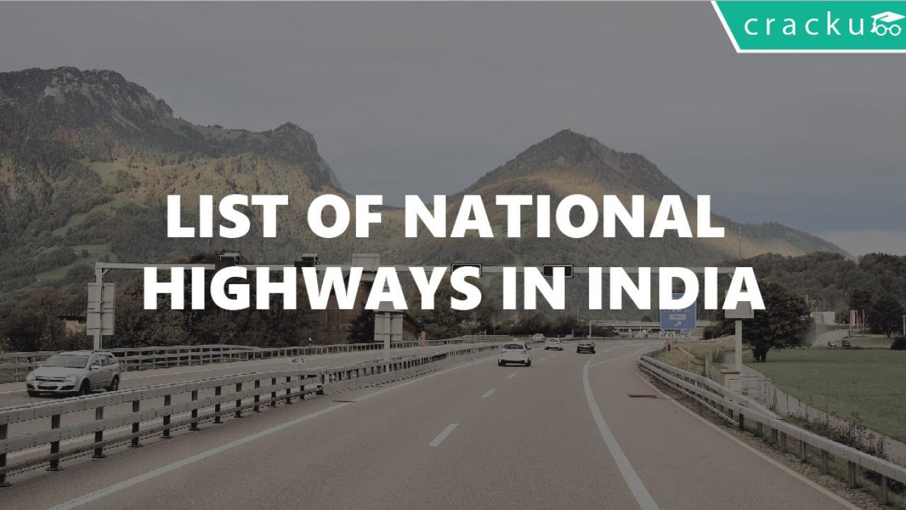 List of National Highways in India PDF - Cracku