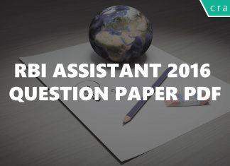 RBI Assistant 2016 question paper PDF