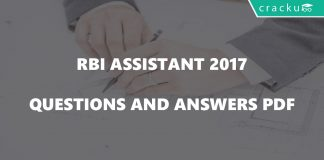 RBI Assistant exam Questions and Answers PDF 2017 prelims and mains