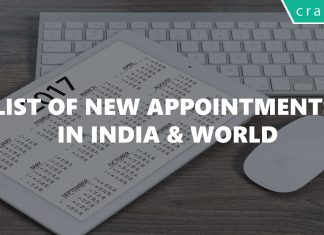 List of New Appointments in India & World 2017/2018 PDF