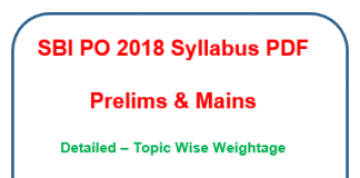 SBI PO 2018 Syllabus Prelims Mains PDF -exam pattern