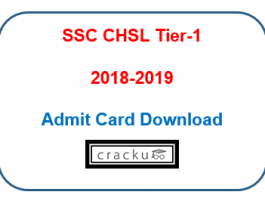 SSC CHSL Tier-1 2018 exam admit card download