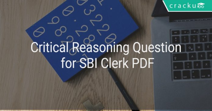 Critical Reasoning Question for SBI Clerk PDF