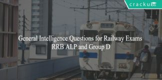General Intelligence Questions for Railway Exams - RRB ALP and Group D