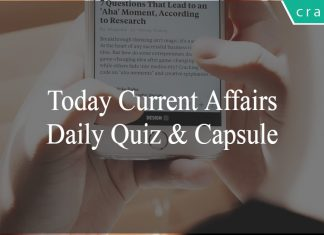 Today Current Affairs   daily current affairs   current affairs quiz   current affairs capsule