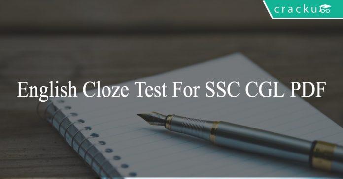 English Cloze Test for SSC CGL PDF