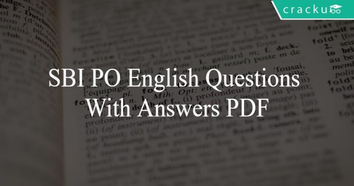 SBI PO English Questions With Answers PDF