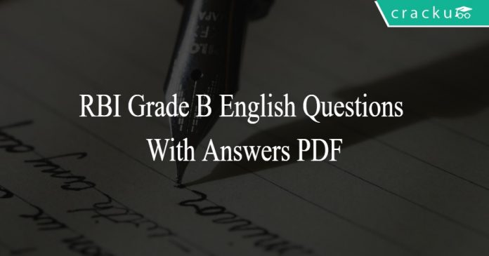 RBI Grade B English Questions With Answers PDF