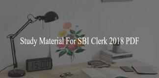 Study Material For SBI Clerk 2018 PDF