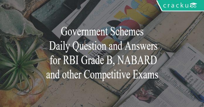 govt schemes quiz for rbi grade b