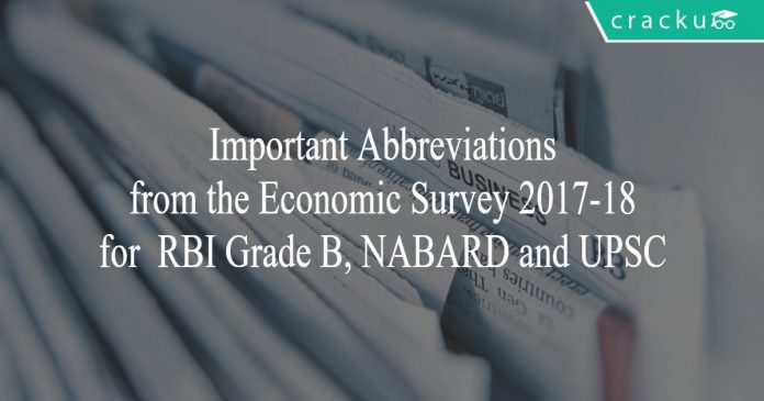 important abbreviations from economic survey 2017-18