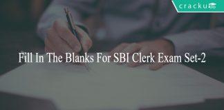 Fill In The Blanks For SBI Clerk Exam Set-2