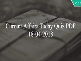 Current Affairs today quiz pdf 18th April 2018