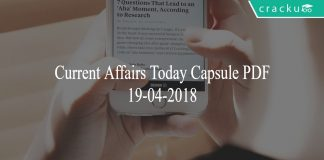 current affairs today capsule 19-04-2018