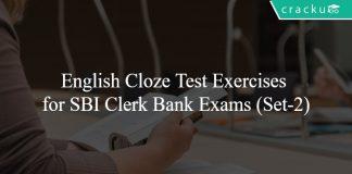 English Cloze Test Exercises for SBI Clerk Bank Exams (Set-2)