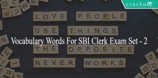 English Vocabulary words for SBI Clerk bank exam
