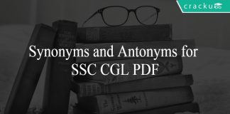 Synonyms and Antonyms for SSC CGL PDF