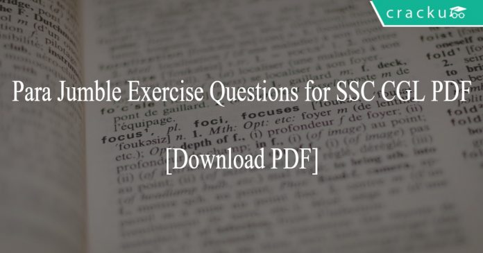 Para Jumble Exercise Questions for SSC CGL PDF