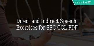 Direct and Indirect Speech Exercises for SSC CGL PDF
