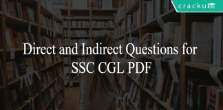 Direct and Indirect Questions for SSC CGL PDF