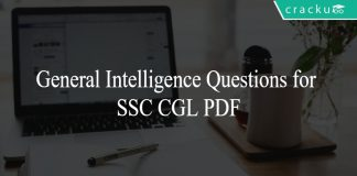 General Intelligence Questions for SSC CGL PDF