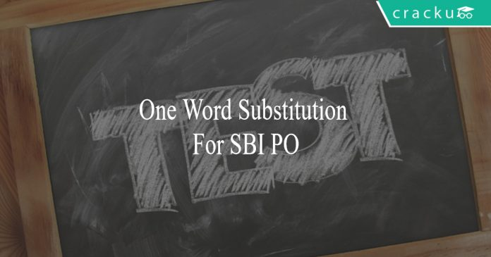 one word substitution for sbi po