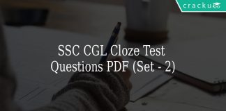 SSC CGL Cloze Test Questions PDF (Set - 2)