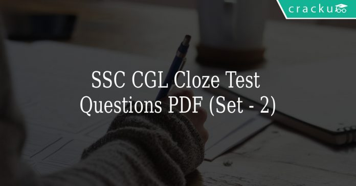SSC CGL Cloze Test Questions PDF (Set - 2)