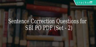 Sentence Correction Questions for SBI PO PDF (Set - 2)