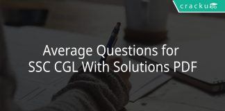 Average Questions for SSC CGL With Solutions PDF