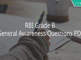 RBI Grade B General Awareness Questions PDF