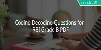 Coding Decoding Questions for RBI Grade B PDF