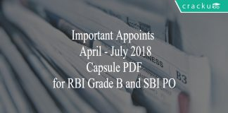 important appointments april - july 2018