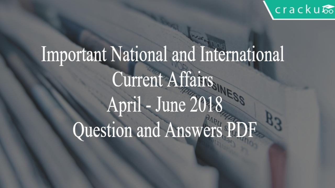 Important National and International Events 2018 PDF