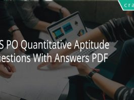 IBPS PO Quantitative Aptitude Questions With Answers PDF