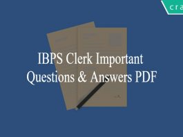 IBPS Clerk Important Questions and Answers PDF