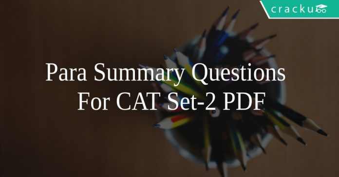 Para Summary Questions For CAT Set-2 PDF