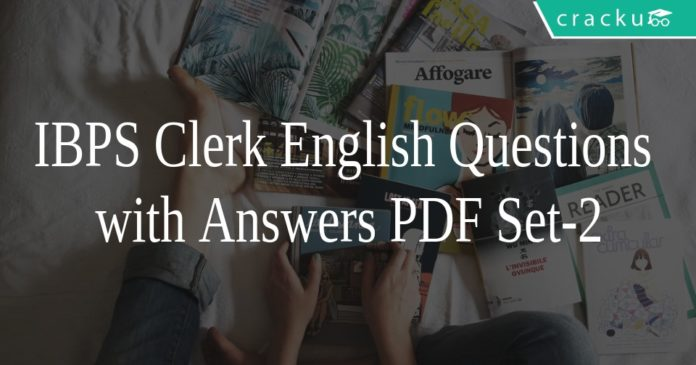 IBPS Clerk English Questions with Answers PDF Set-2