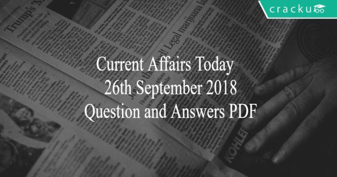 ca today quiz 26th September 2018