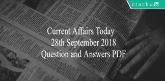 CA TODAY QUIZ 28th SEPT 2018