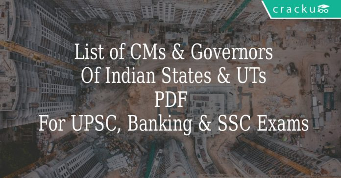 List of CMs & Governors Of Indian States & UTs PDF