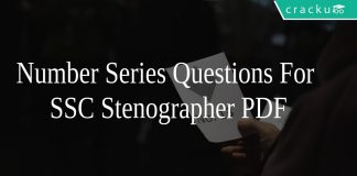 Number Series Questions For SSC Stenographer PDF