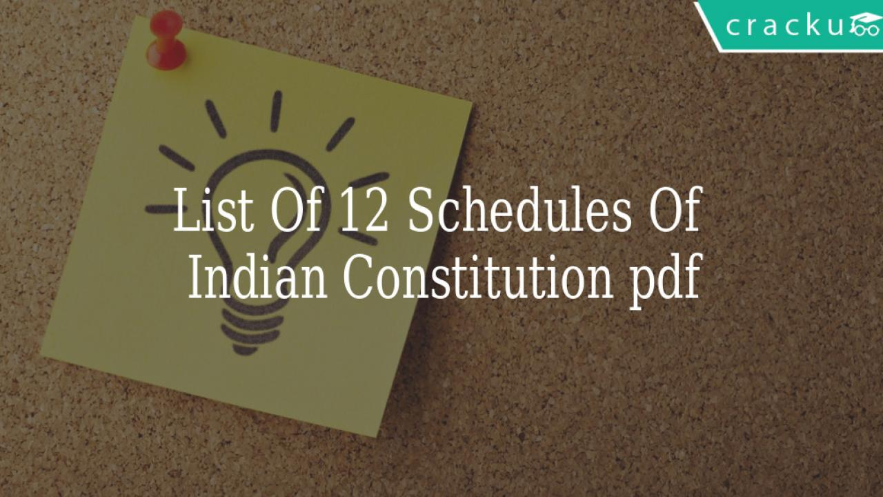List of 20 Schedules of Indian Constitution PDF   Cracku